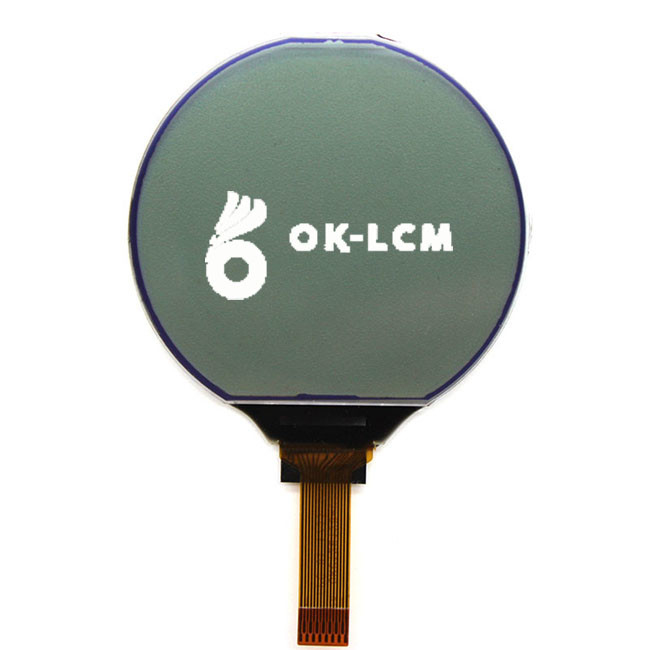 Professional Round Lcd Display Screen / Monochrome Lcd Screen 128x128 Dots